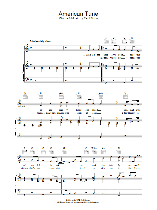 Paul Simon American Tune sheet music preview music notes and score for Lyrics & Chords including 3 page(s)
