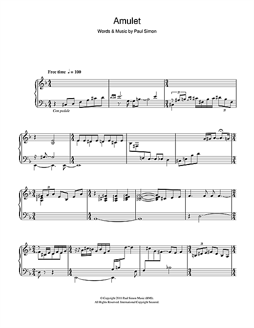 Download Paul Simon 'Amulet' Digital Sheet Music Notes & Chords and start playing in minutes