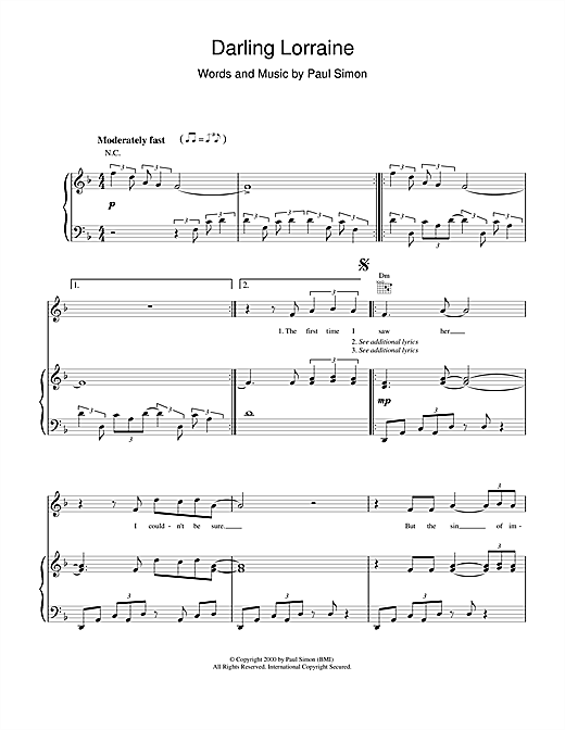 Paul Simon Darling Lorraine sheet music notes and chords