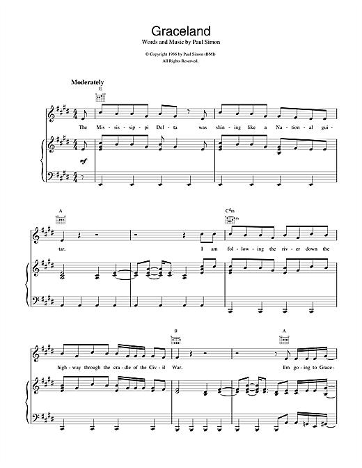 Paul Simon Graceland sheet music notes and chords