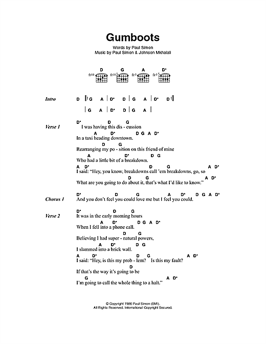 Paul Simon Gumboots sheet music notes and chords