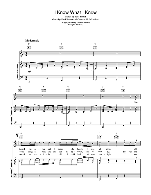 Paul Simon I Know What I Know sheet music notes and chords