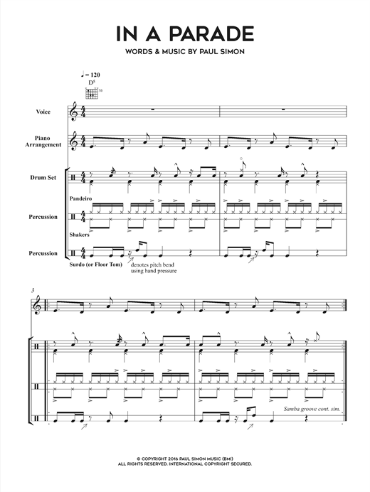 Download Paul Simon 'In A Parade' Digital Sheet Music Notes & Chords and start playing in minutes