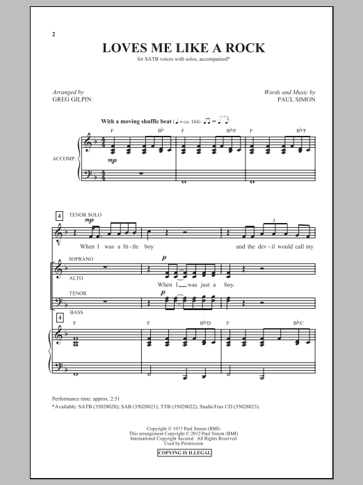 Greg Gilpin Loves Me Like A Rock sheet music preview music notes and score for TTBB including 14 page(s)