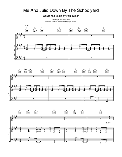 Paul Simon Me And Julio Down By The Schoolyard sheet music notes and chords
