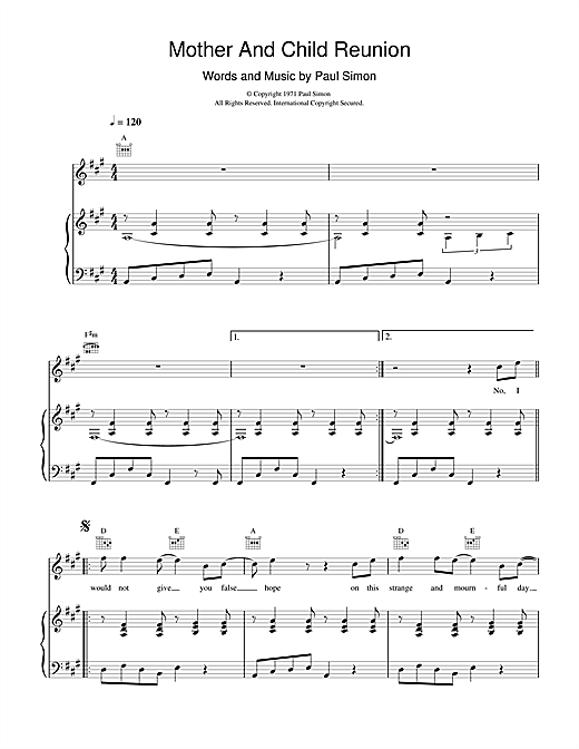 Paul Simon Mother And Child Reunion sheet music notes and chords