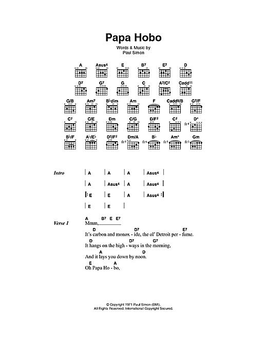 Paul Simon Papa Hobo sheet music notes and chords