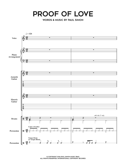 Download Paul Simon 'Proof Of Love' Digital Sheet Music Notes & Chords and start playing in minutes