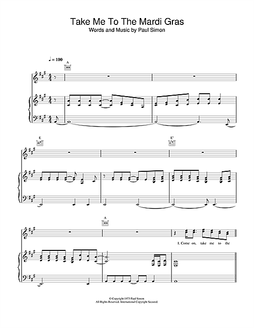 Paul Simon Take Me To The Mardi Gras sheet music notes and chords