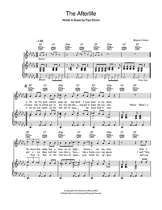 Paul Simon The Afterlife sheet music notes and chords