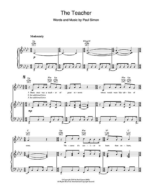Paul Simon The Teacher sheet music notes and chords