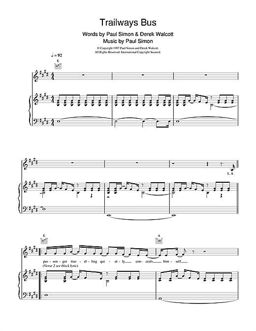 Paul Simon Trailways Bus sheet music notes and chords