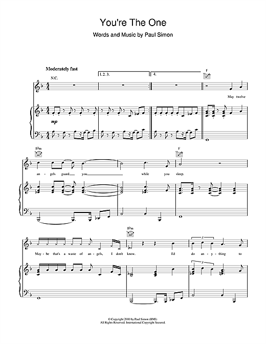 Paul Simon You're The One sheet music notes and chords