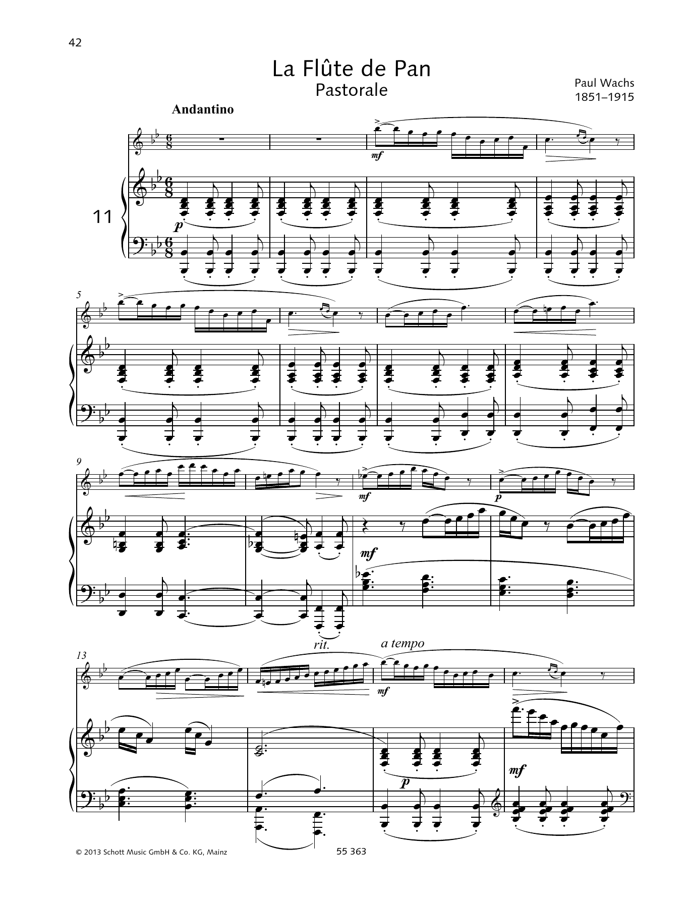 Paul Wachs La Flute De Pan sheet music preview music notes and score for Woodwind Solo including 7 page(s)
