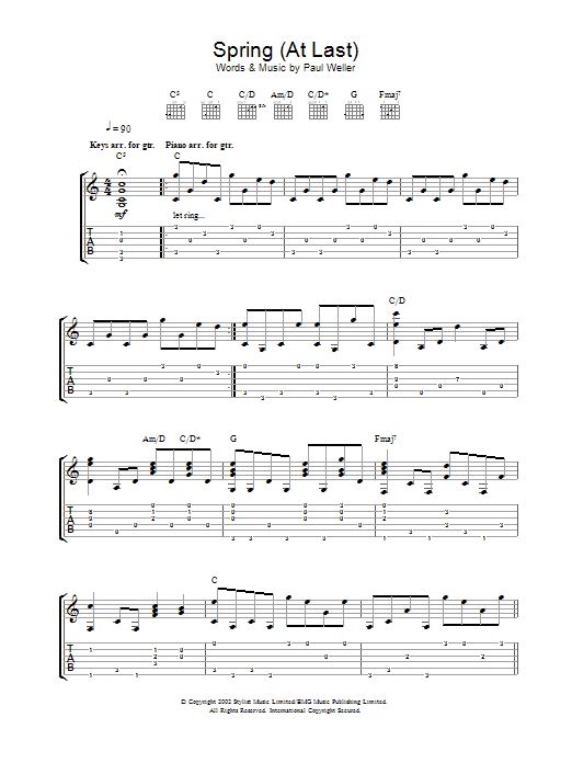 Paul Weller Spring (At Last) sheet music preview music notes and score for Melody Line, Lyrics & Chords including 2 page(s)