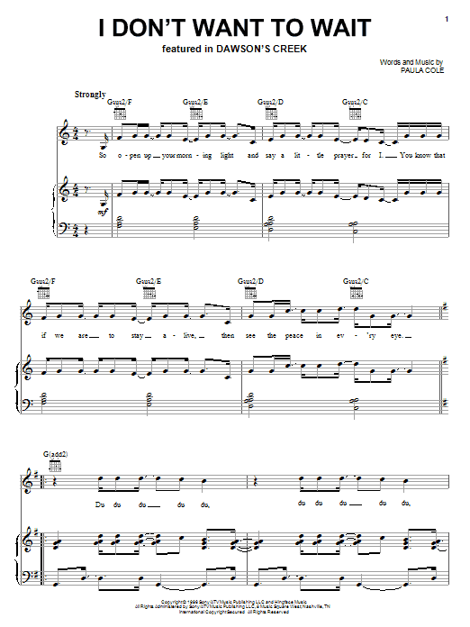 Paula Cole I Don't Want To Wait sheet music notes and chords