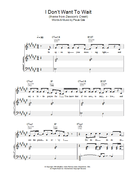 Paula Cole I Don't Want To Wait (theme from Dawson's Creek) sheet music preview music notes and score for Melody Line, Lyrics & Chords including 4 page(s)