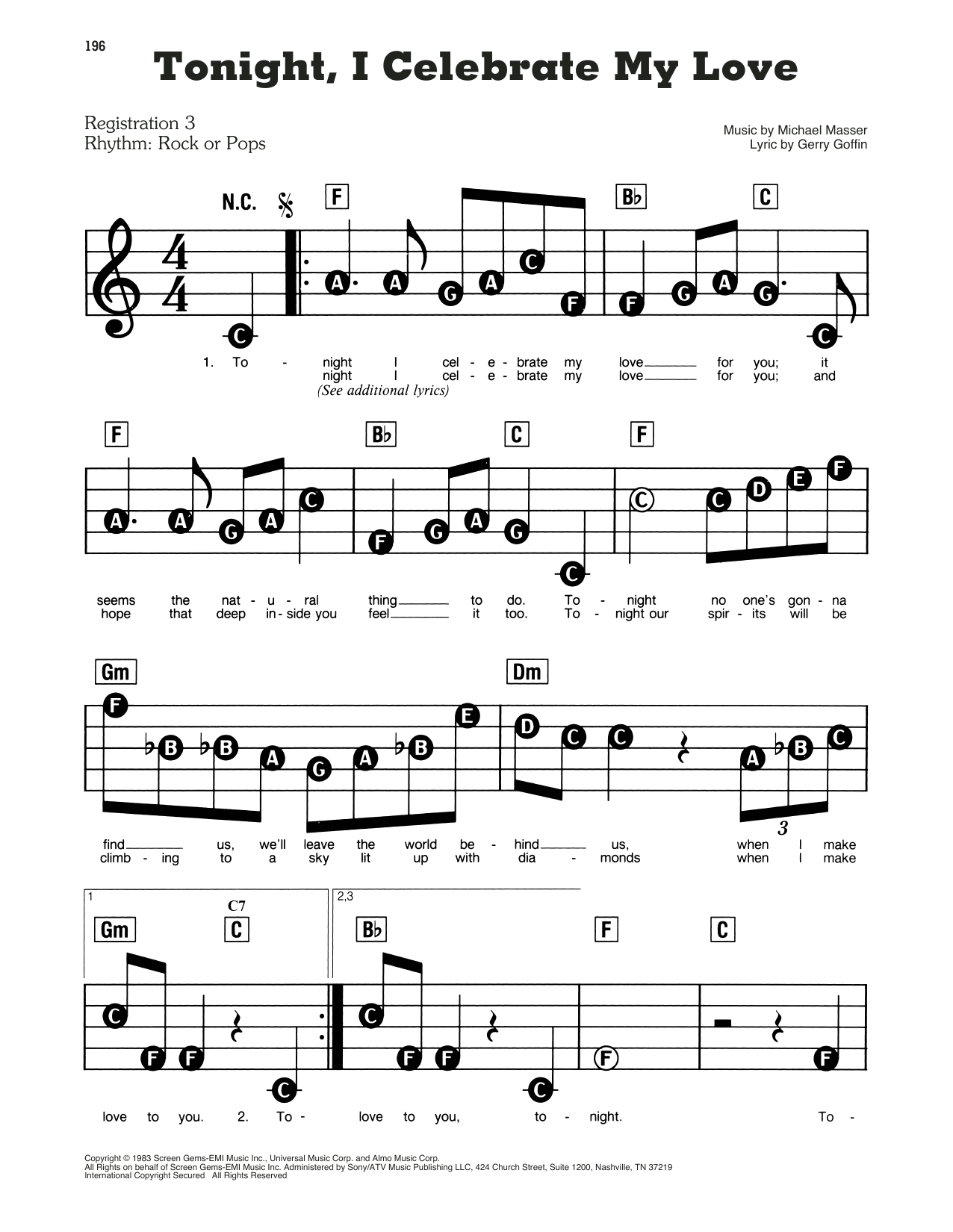Peabo Bryson & Roberta Flack Tonight, I Celebrate My Love sheet music preview music notes and score for E-Z Play Today including 2 page(s)
