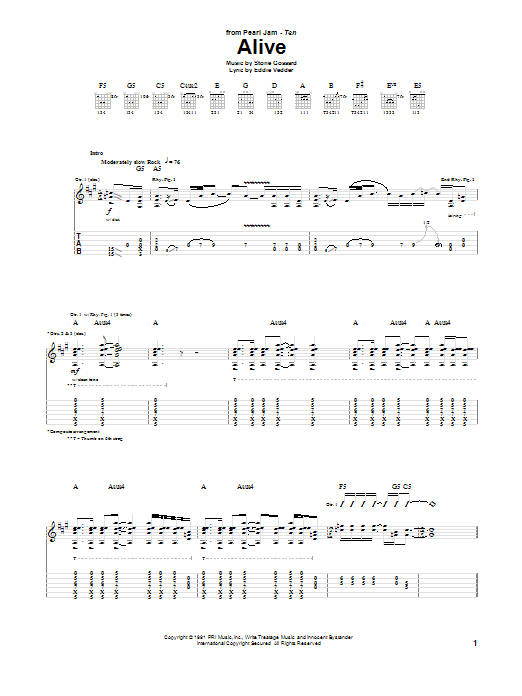Pearl Jam Alive sheet music preview music notes and score for Bass Guitar Tab including 9 page(s)