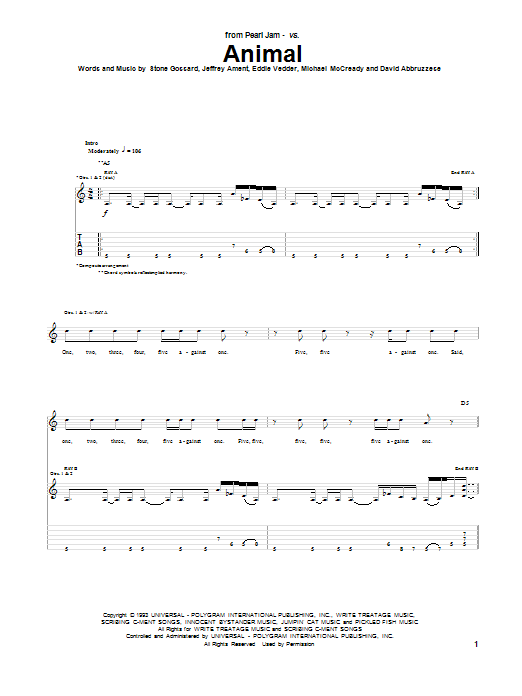 Pearl Jam Animal sheet music preview music notes and score for Guitar Tab including 9 page(s)