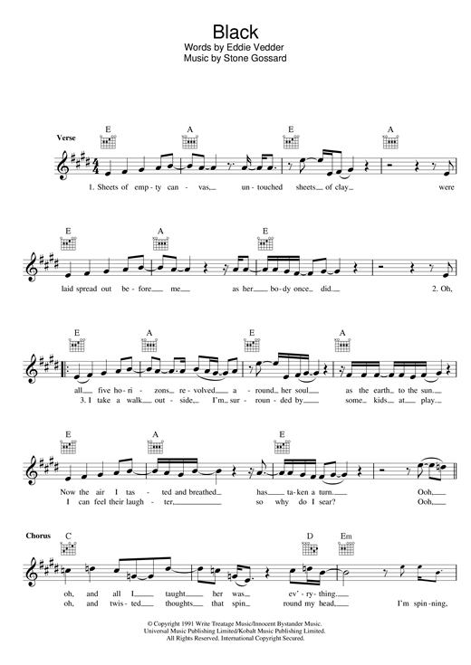 Pearl Jam Black sheet music preview music notes and score for Guitar Tab including 20 page(s)