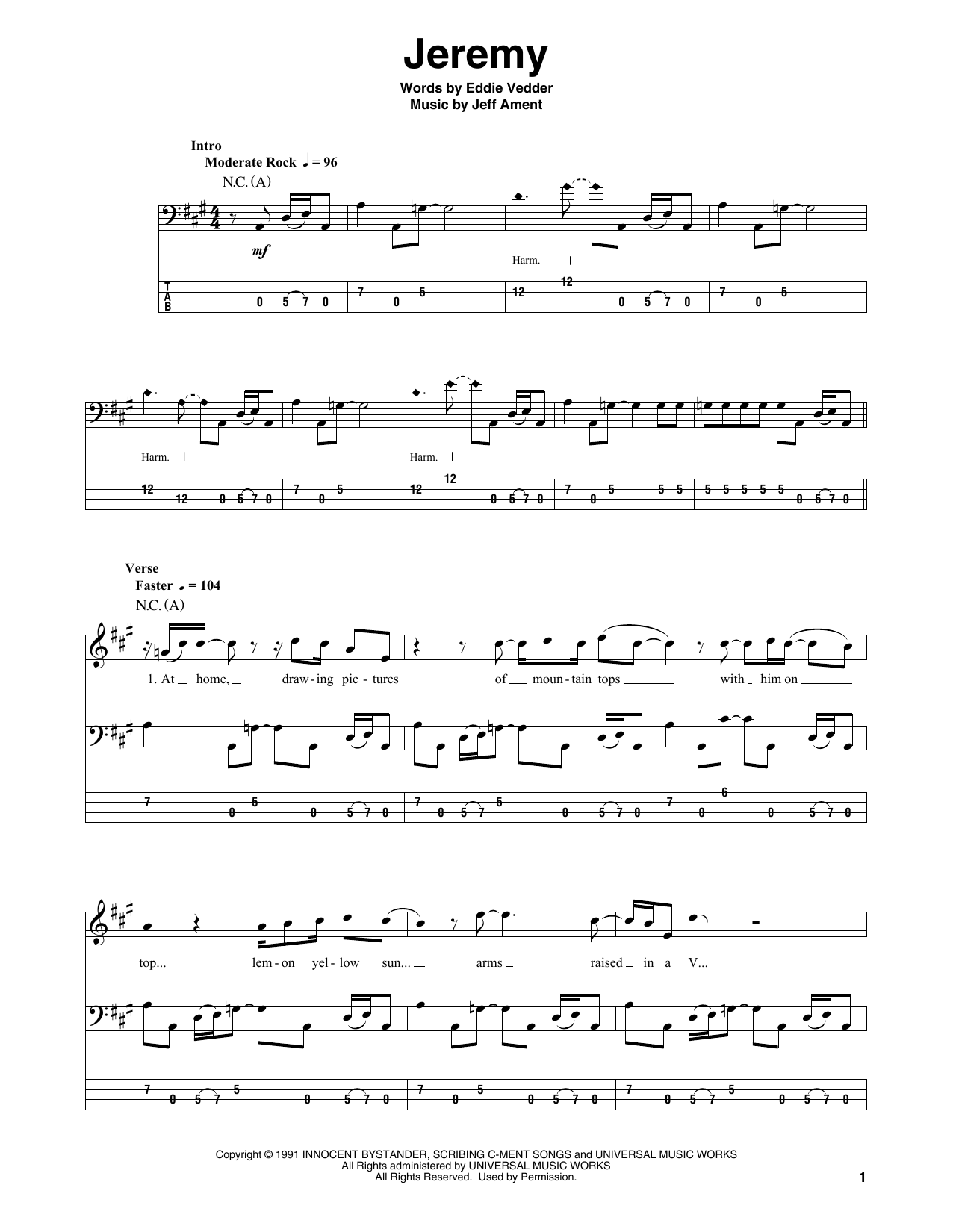 Download Pearl Jam 'Jeremy' Digital Sheet Music Notes & Chords and start playing in minutes