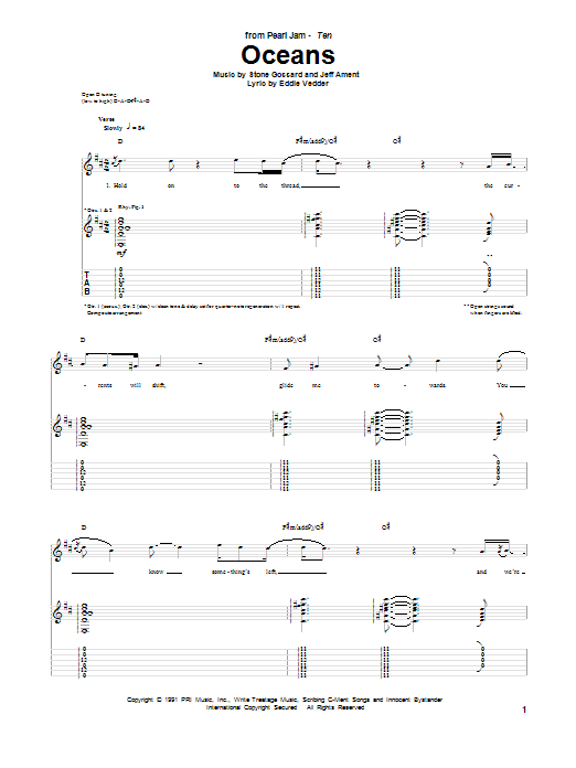 Pearl Jam Oceans sheet music preview music notes and score for Guitar Tab including 9 page(s)