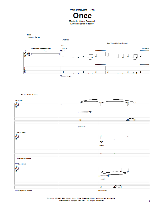 Pearl Jam Once sheet music preview music notes and score for Guitar Tab including 15 page(s)