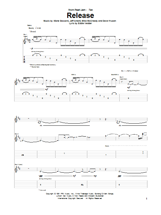 Pearl Jam Release sheet music preview music notes and score for Guitar Tab including 13 page(s)