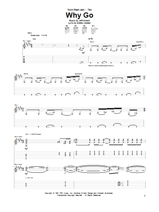 Pearl Jam Why Go sheet music preview music notes and score for Guitar Tab including 20 page(s)