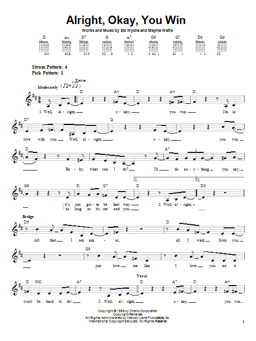 Download Peggy Lee 'Alright, Okay, You Win' Digital Sheet Music Notes & Chords and start playing in minutes