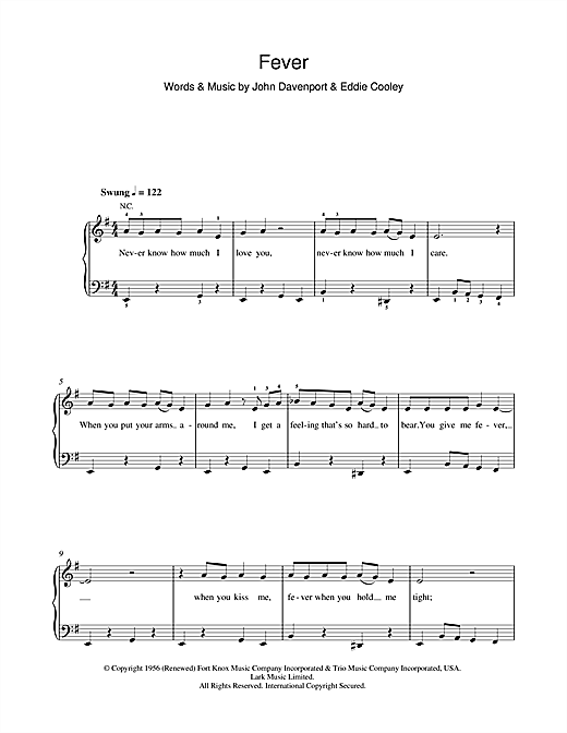 Download Peggy Lee 'Fever' Digital Sheet Music Notes & Chords and start playing in minutes