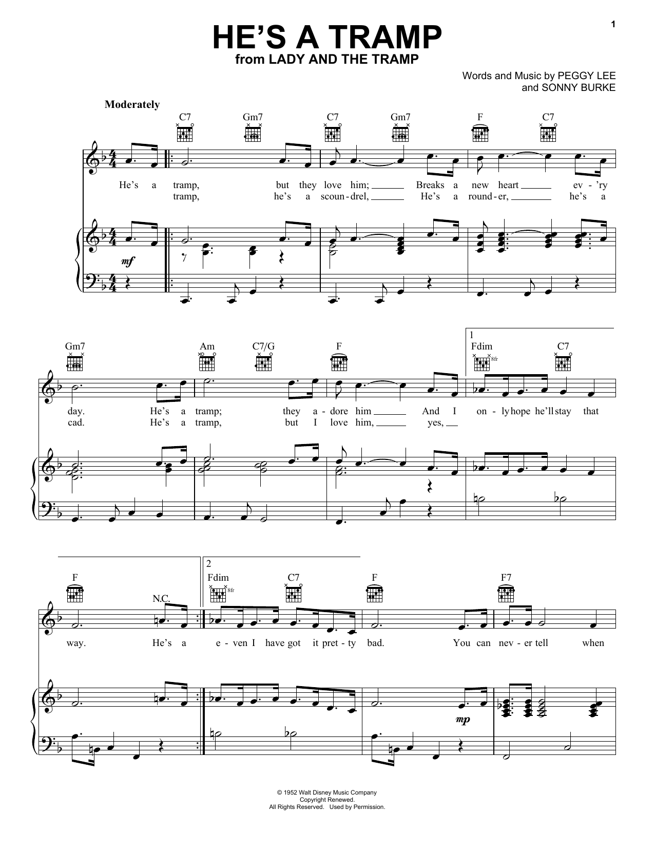 Peggy Lee He's A Tramp sheet music preview music notes and score for Guitar Tab including 2 page(s)
