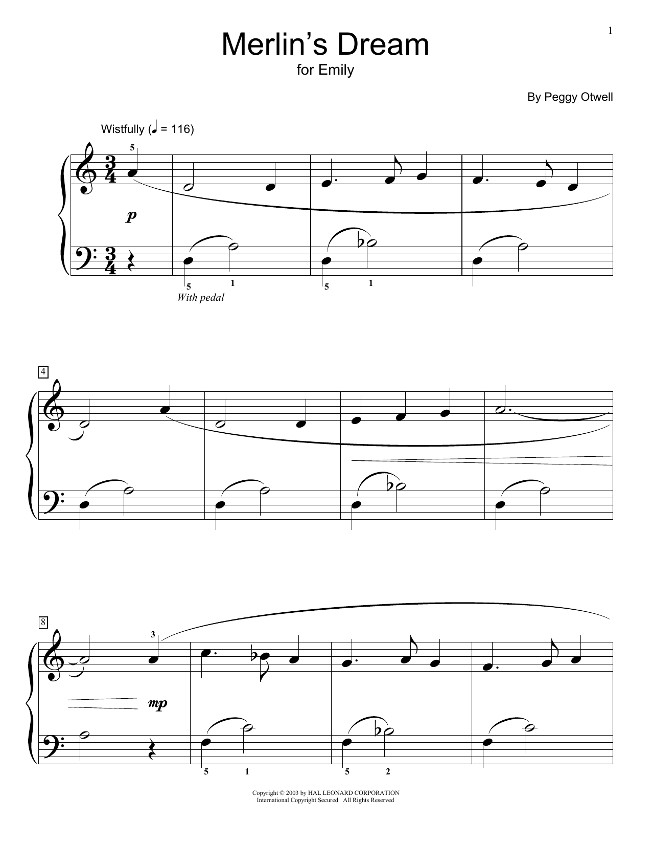Peggy Otwell Merlin's Dream sheet music preview music notes and score for Easy Piano including 3 page(s)