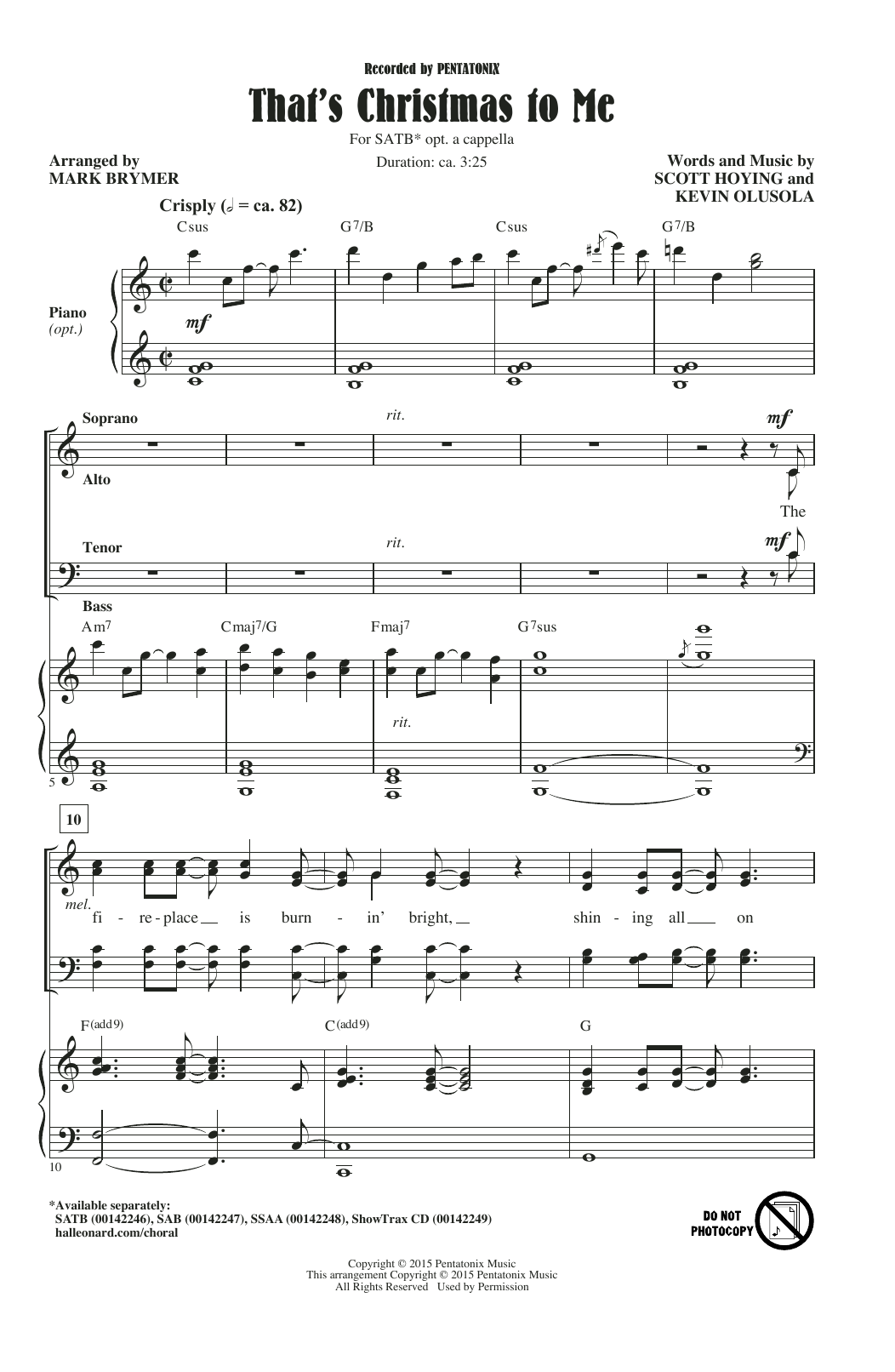 Download Pentatonix 'That's Christmas To Me (arr. Mark Brymer)' Digital Sheet Music Notes & Chords and start playing in minutes