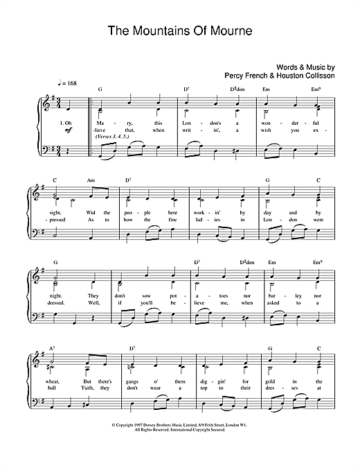 Percy French The Mountains Of Mourne sheet music preview music notes and score for Easy Piano including 3 page(s)