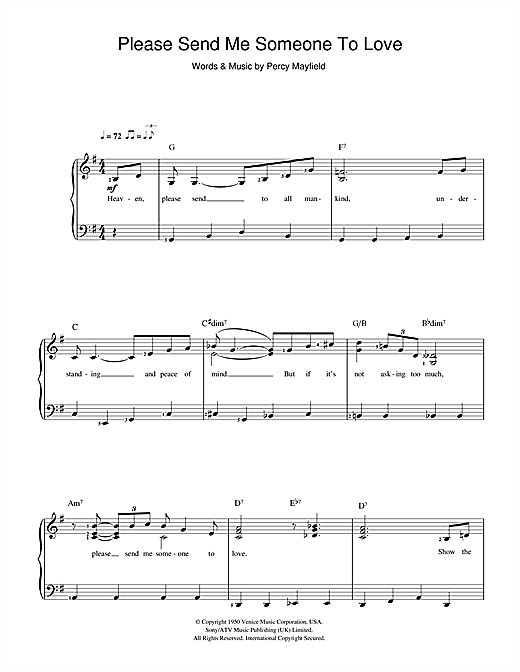 Percy Mayfield Please Send Me Someone To Love sheet music preview music notes and score for Easy Piano including 3 page(s)