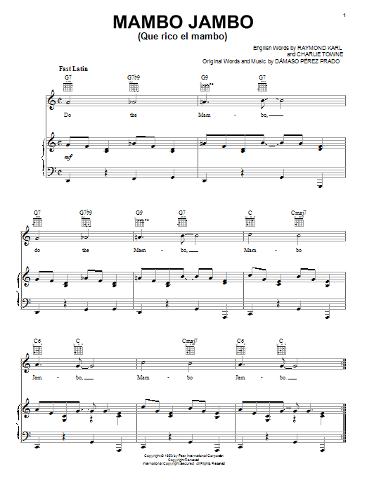 Perez Prado Mambo Jambo (Que Rico El Mambo) sheet music preview music notes and score for Piano, Vocal & Guitar (Right-Hand Melody) including 6 page(s)