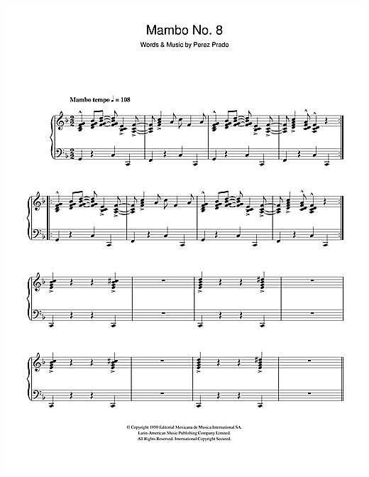 Download Perez Prado 'Mambo No. 8' Digital Sheet Music Notes & Chords and start playing in minutes