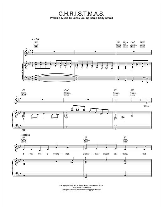 Perry Como C.H.R.I.S.T.M.A.S. sheet music notes and chords