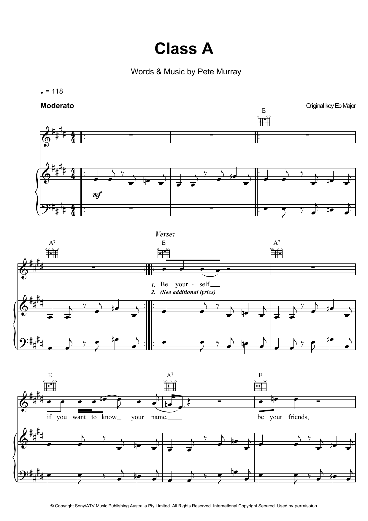 Pete Murray Class A sheet music preview music notes and score for Piano, Vocal & Guitar including 5 page(s)