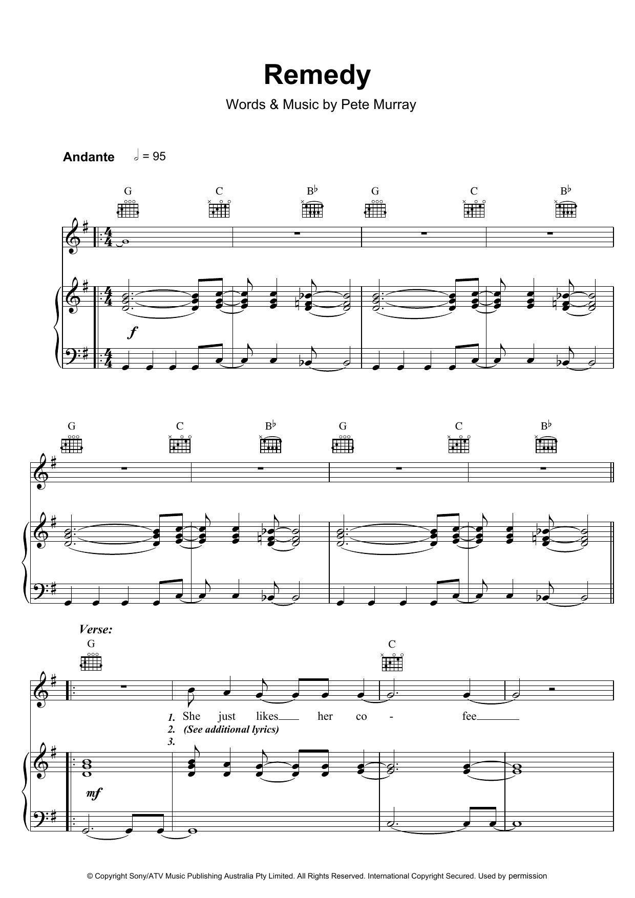 Pete Murray Remedy sheet music preview music notes and score for Piano, Vocal & Guitar (Right-Hand Melody) including 6 page(s)