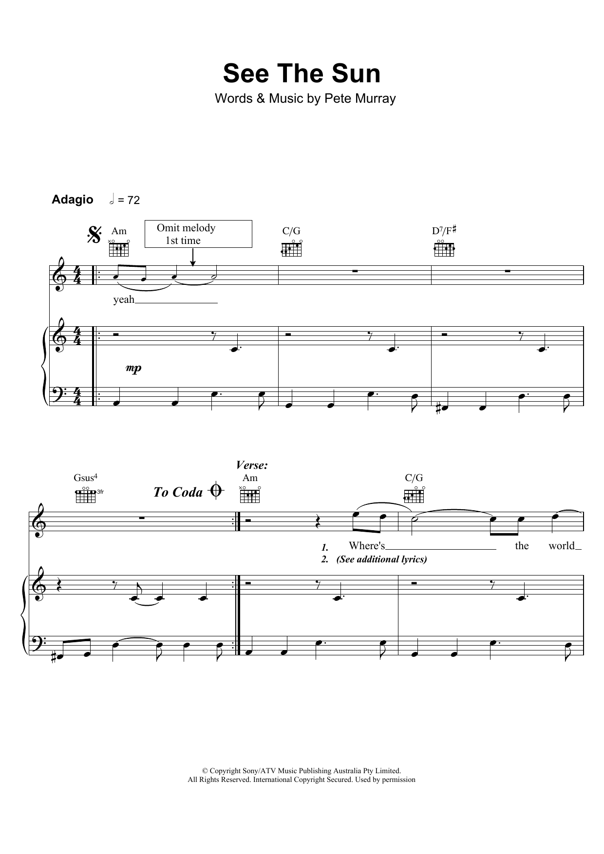 Pete Murray See The Sun sheet music preview music notes and score for Piano, Vocal & Guitar including 6 page(s)