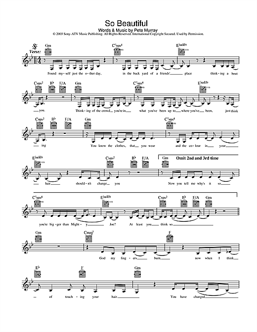 Pete Murray So Beautiful sheet music preview music notes and score for Melody Line, Lyrics & Chords including 2 page(s)