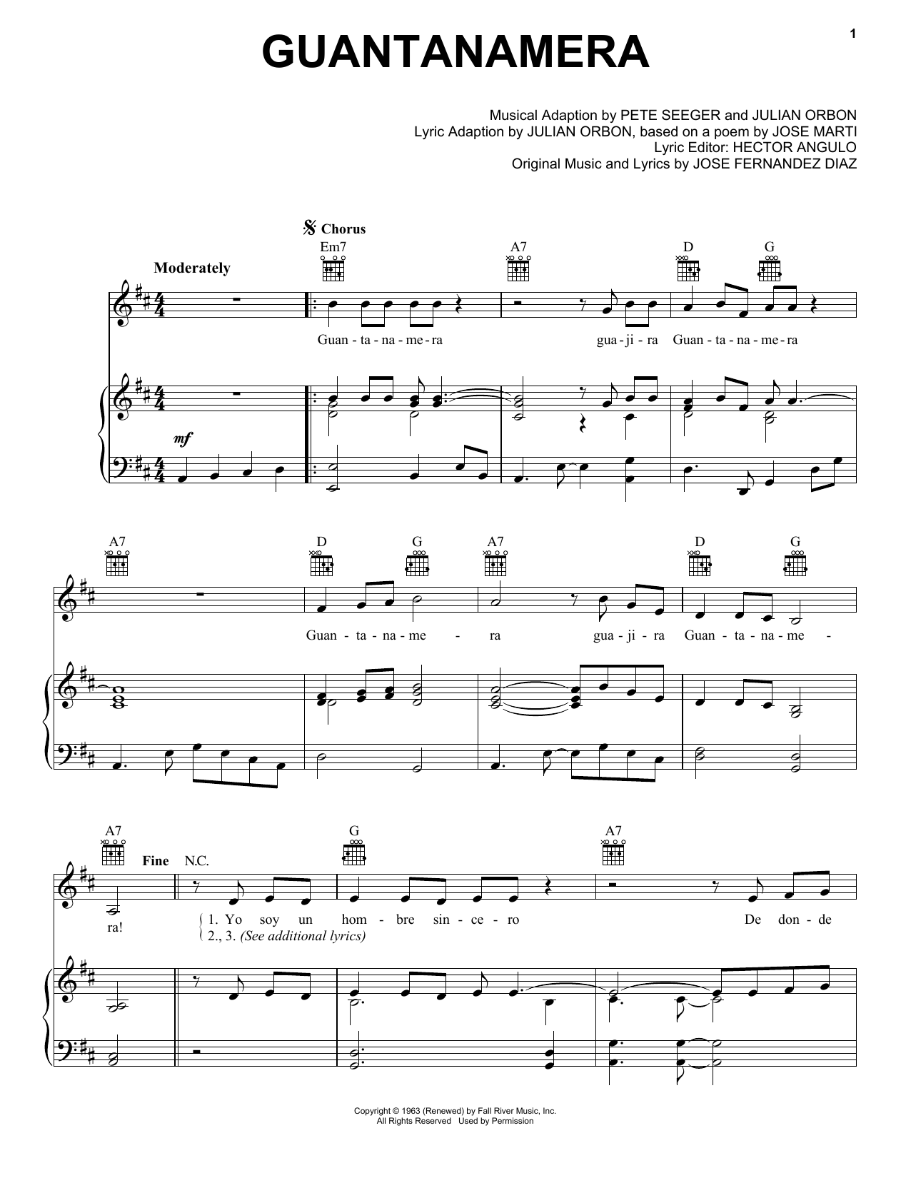Pete Seeger Guantanamera sheet music notes and chords