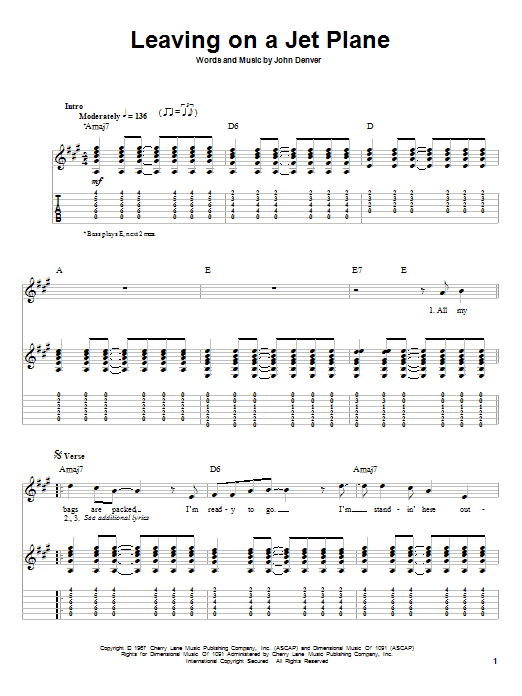 Peter, Paul & Mary Leaving On A Jet Plane sheet music preview music notes and score for Guitar Tab including 7 page(s)