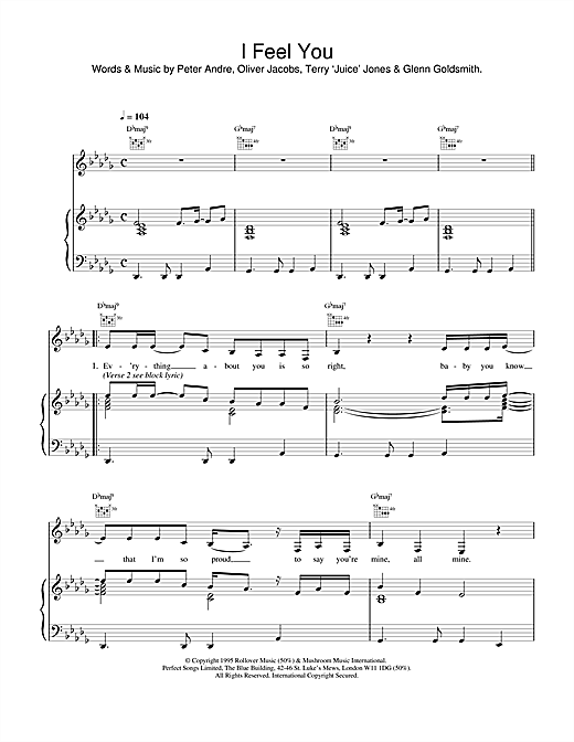 Peter Andre I Feel You sheet music notes and chords
