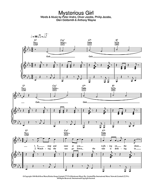 Peter Andre Mysterious Girl sheet music notes and chords