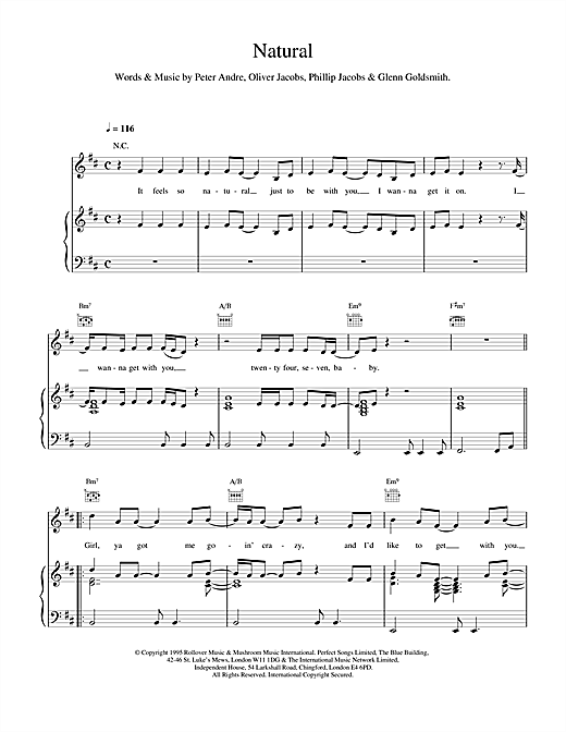 Peter Andre Natural sheet music notes and chords