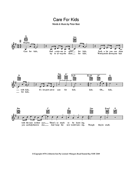 Peter Best Care For Kids sheet music preview music notes and score for Melody Line, Lyrics & Chords including 2 page(s)